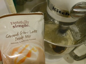 Use flavored coffee drink mix for a delicious cake frosting.
