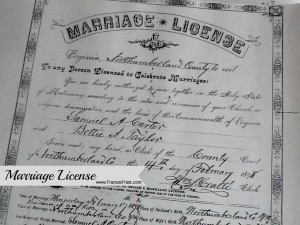 Check local courthouses for personal records such as marriage licenses, birth certificates, and death records.